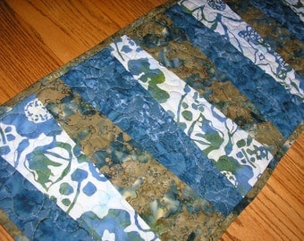 Quilted Table Runner, Batiks in Blues and Greens,  13 x 41 1/2 inches