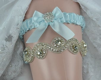 Wedding Garter Set, Rhinestone Garter Set, Something Blue Garter