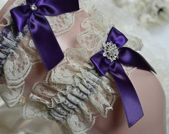 Wedding Garter Set,Bridal Garter Set, Ivory Lace Garter Set,Eggplant Garter