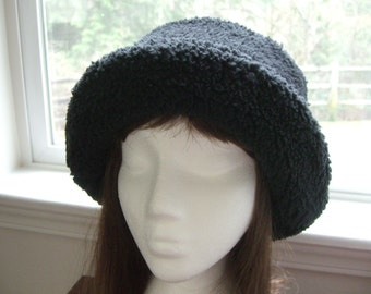 Black Sherpa Minky Hat, Women's Winter Hat, Winter Hat, Super Soft Minky Hat