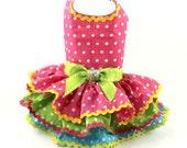 Dog Dresses, harness dog dress, Seersucker, Strawberry Pink polka dot