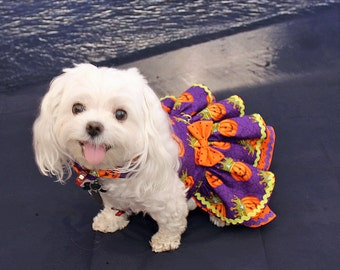 Dog Dress, Dog Harness Dress, Cute Dog Halloween Outfit, Custom Dog Dress, Ruffle, Dog Fashion for Small Dogs, Fancy Dress, Purple, Pumpkin
