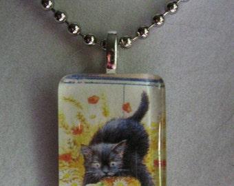 Black Cat Glass Pendant Necklace - Lesley Anne Ivory Art