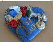 On Sale Pretty Vintage Handmade Equestrian Heart Brooch, First Place, Horseshoe, Denim Blue (AP14)
