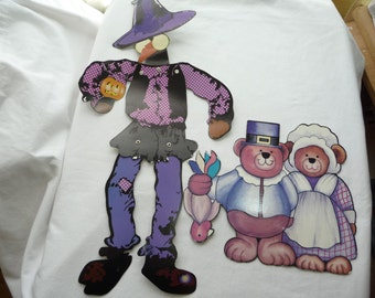 Paper Cut Outs, Halloween Scarecrow, Thanksgiving Bears, Two Die Cuts, Wall Decor, Party Decor, Tall Scarecrow, Bear Couple, Jack o Lantern