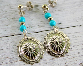 CONCHO Earrings Southwest Silver Turquoise