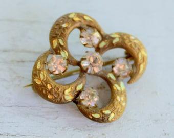 Antique Brooch C Clasp Gold Tone Enameling 1900 Edwardian Rhinestone