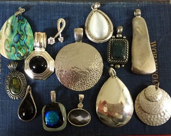 Vintage Pendant Lot Silver Tone Jewelry Making Destash Assemblage Inspiration Crafts Crafting Wear