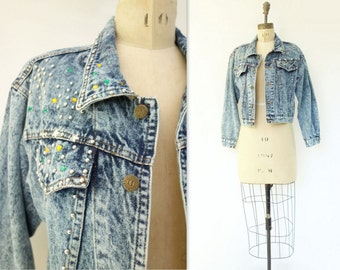 Jeweled Denim Jacket Vintage Jean Jacket Studded Denim Jacket Acid Wash Jacket Star Studded Jacket 1980s Jean Jacket Acid Wash Denim s