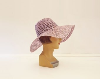 Vintage Wedding Hat, 70s Wide Brim Hat, Boho Wedding Hat, 70s Mauve Floppy Hat, 1970s Wedding Hat, Lilac Sun Hat, Lace Wedding Hat, L