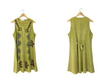Vintage 90s Olive green Indian mini dress Embroidered sun dress Festival dress Hippie 1990s Grunge Ethnic Boho tie back dress DELLS Small