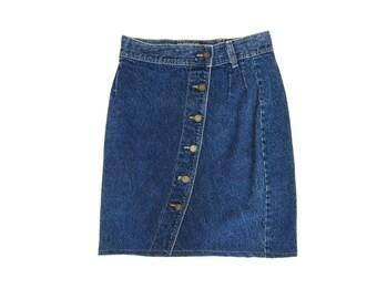 80s Jean Skirt High Waist Dark Blue Denim Mini Skirt 1980s Dells BUTTON FRONT Miniskirt Grunge Boho Pencil Skirt Womens Vintage Medium