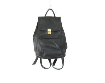 Vintage Black Leather Rucksack 90s Backpack Shoulder Bag Hipster Boho 90s Pack Top Handle Knapsack Women's School Purse