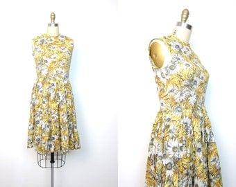 Floral 50s Day Dress Yellow White Daisies Midi Dress Sleeveless Cotton Tank SunDress Vintage 1950s Flower Print Sun Dress DELLS Small