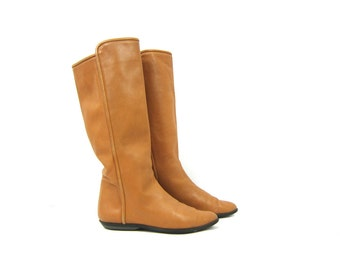 90s Light Brown Leather Boots tan Boots Knee High Boots Vintage Equestrian Fall Riding Boots Preppy Boho Chic Fashion Boots Womens Size 6