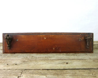 Primitive Wood Wall Rack shelf Vintage Antique Cast Iron hanger Louanne's Estate Sale