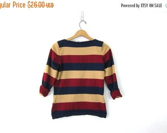 70s Striped Tee Shirt Colorful Stretch Knit Small Fit Indie Top 1970s Tomboy Hipster Pullover Womens size Small Vintage