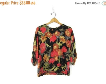 Floral Blouse 90s Keyhole Festival Shirt Bohemian Grunge Rayon Gypsy Preppy 3/4 Sleeve Secretary Top Womens size Small Medium