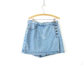 90s faded Blue Jean Culottes Skirt Mini Denim Wrap Skirt Bleached Shorts Preppy Hipster Grunge Vintage Womens size Large 32 Inch Waist