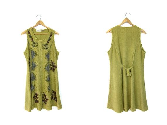 Vintage Boho Dress 90s Indian Mini Dress Embroidered Sun Dress Festival Hippie Grunge Sundress Ethnic Bohemian Summer Dress DELLS Medium