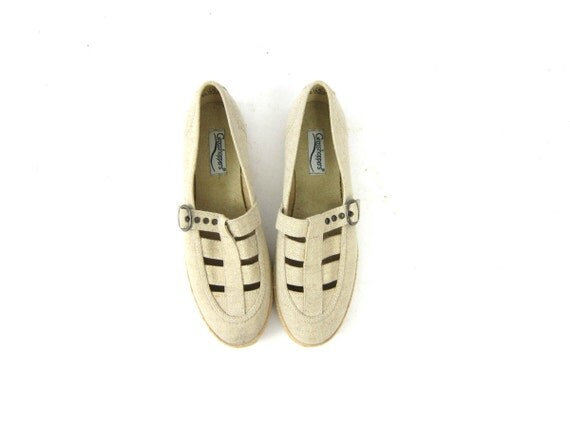 Natural off white Canvas Sandals Vintage 80s Minimal CUT OUT Flats Oatmeal Buff Strappy Ballerina Sandals Preppy Twine Womens shoes Size 7.5