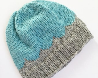 Knitted fair isle hat. Knit beanie. Size 1-2 years old. Toddler hat. Ready to ship.