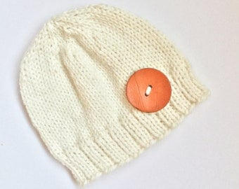 Knit hat, knit beanie, baby hat, baby beanie, Knit newborn beanie with button. Knit hat. Knit beanie. Knit gift. Baby photo prop.
