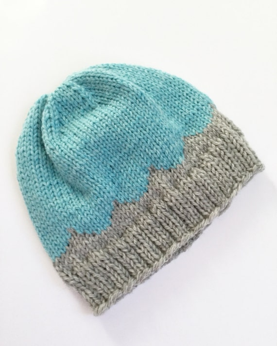 Knit scallop baby hat, baby hat, baby beanie, Knitted fair isle hat. Knit beanie, knit hat, toddler hat, knit gift, baby accessories.