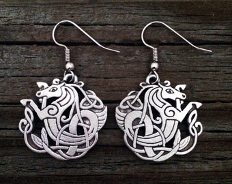 Celtic Seahorse / Kelpie Pewter Earrings