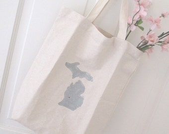 Michigan Tote Bag * Canvas * Home State Love * Grey * Great Christmas Gift!