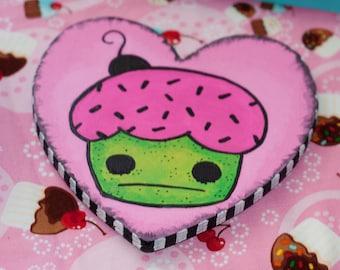 "Heart Shaped Cupcake Painting, Cute Valentine, Cupcake Art 6""x""6"""