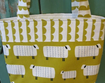 Sheep on mustard yellow shoulder shopping bag / knitting or project bag /  yarn tote/ market tote in Japanese canvas