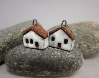 READY TO SHIP...White Miniature House Charms in Terracotta...Set of 2