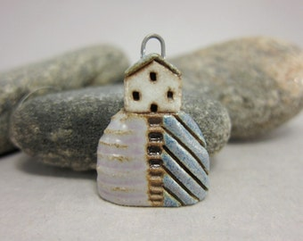 Hilltop Cottage...Stoneware Pendant / Necklace