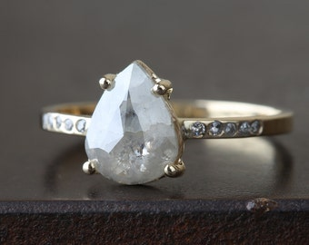 Natural Silver-Grey Rose Cut Diamond Ring with Pavé Band