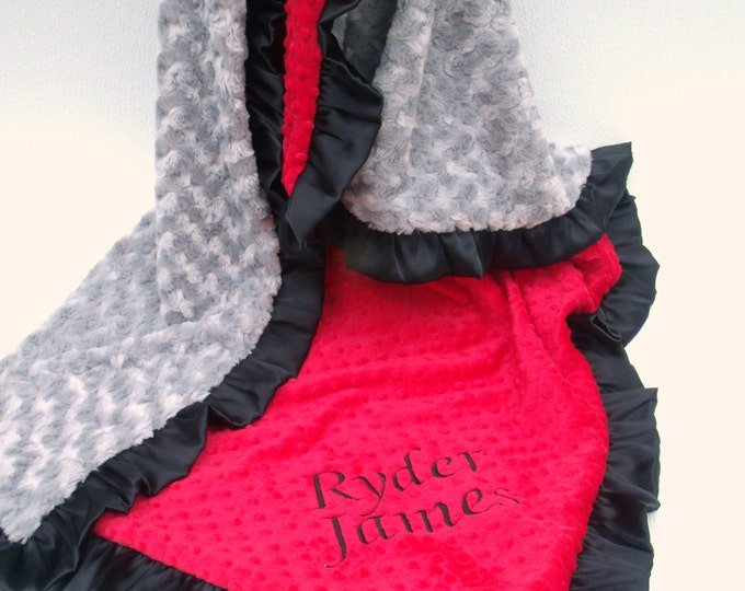 Red, Gray and Black Minky Baby Blanket, Silver Rose Swirl or Minky Dot You Choose, Black Ruffled Satin Trim