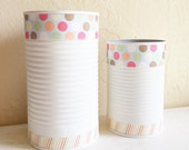 SALE - Pair of White Shabby Chic Decorated Metal Containers Desk Storage Organizers Two 2 Matching