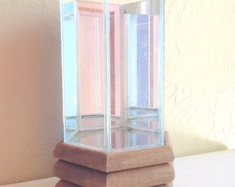 Terrarium Glass with Mirrors and Wood Wooden Frame