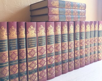 Large Set of Vintage Books in Red Burgundy Color Home Decor Mid-Century History