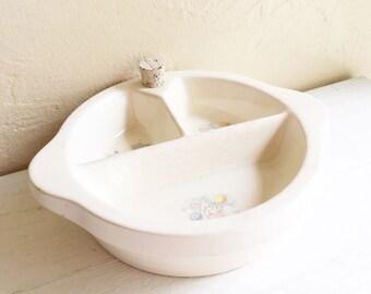 Antique Vintage Porcelain Baby Child Plate Serving Dish 3 Compartments Excello