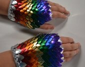 Fingerless Gloves in knitted Dragonhide Scalemail Armor Rainbow Size large