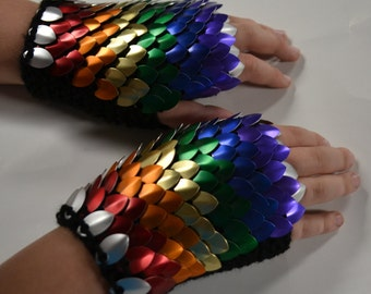 Fingerless Gloves in knitted Dragonhide Scalemail Armor Rainbow Choose your size