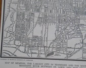 vintage street map, Memphis Tennessee City Map, 1944