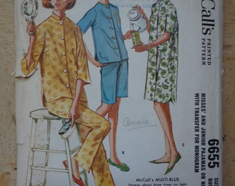 Pajamas Pattern, Vintage 1962 McCall's  6655 Sewing Pattern, bust 34