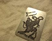 krampus etched nickel silver pin