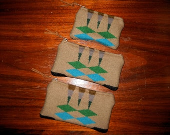 Organizer Set of 3 / Travel Set Wool Tribal Geometric Southwestern Handcrafted Using Fabric from Pendleton Woolen Mill