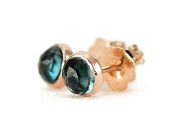 London Blue Topaz Studs - 14k Rose Gold Post Earrings - 5mm Rose Cut Topaz Studs