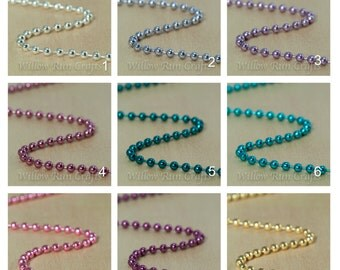 20 High Quality 2.4mm Colored Metal Ball Chain 24 inch Necklaces with connectors.  Select your colors.