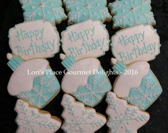 Christmas Birthday Cookies - Snowflake Birthday Cookies - 12 Cookies