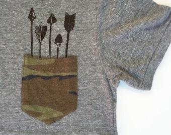 Mens Pocket ARROWS Camo T Shirt - All sizes S M L XL XXL